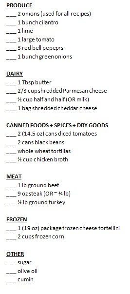week 4 shopping list